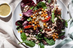 Crispy Chickpea, Tuna & Feta Mixed Leaf Noodle Salad