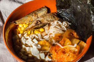 Noodles with Kimchi Sardine Stew