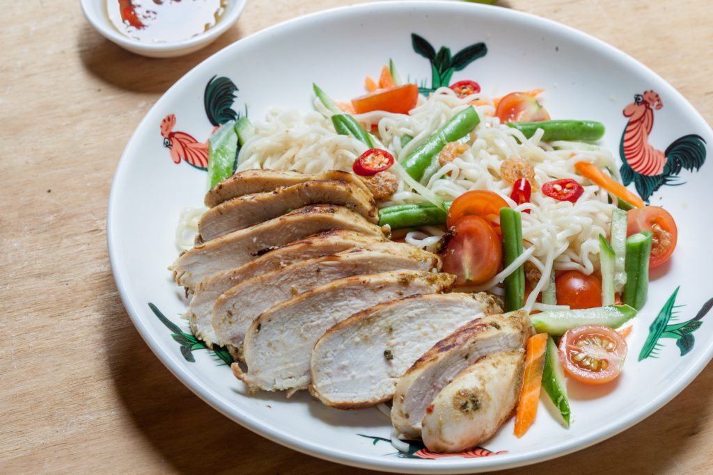 Thai Noodle Salad with Roasted Green Curry Chicken